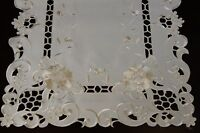Solid White Ivory Rose Embroidered Cutwork Floral Placemat Runner Wedding Bridal