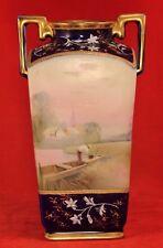 "Antique Nippon Boat Pond Village Hand Painted Gilt Handled Vellum 6"" Vase"