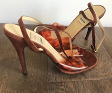 Vintage Todd Oldham Plastic Tortoise Ankle Strapped Sandals Suede Heels size 40