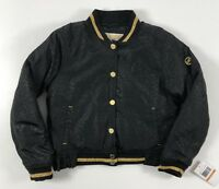 MICHAEL KORS Girls' Kids' Black Leopard Pattern Bomber Jacket, size 6 years