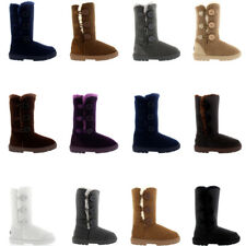 Ladies 3 Button Classic Shoes Snow Fur Winter Casual Rain Warm Boots All Sizes