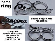 anello doppio dito personalizzato col tuo nome bagno ARGENTO made in italy