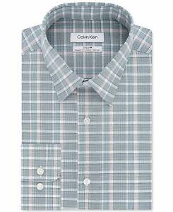 Calvin Klein Mens Dress Shirt Green Size 14 1/2 Plaid Printed Stretch $79- 389