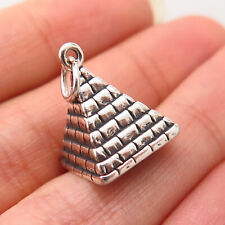 925 Sterling Silver Vintage Egyptian Pyramid Design Hollow Charm Pendant