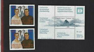 Greenland sc#199 Souvenir Sheet #253 x2 (1987-92) MNH