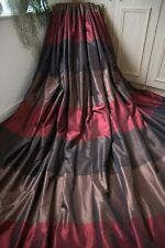 NEXT RED BROWN CHOCOLATE STRIPED TAFFETA EYELET CURTAINS,90WX90D,SHIMMERY ,1OF2