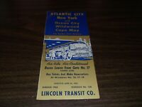 JUNE 1962 LINCOLN TRANSIT NEW YORK TO ATLANTIC CITY BUS TIMETABLE