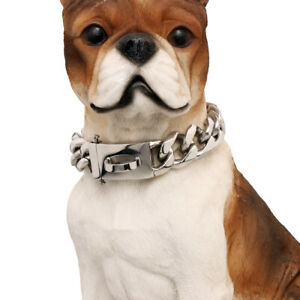 Silver/Gold Stainless Steel Link Curb Bulldog Big Dog Chain Choker Collar 16-28""