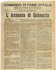 Comando di Fiume d'Italia Bollettino Ufficiale 25 Luglio 1920 L'Assunto Dalmazia