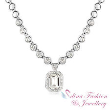 18K White Gold Plated Made With Swarovski Crystal Radiant Cut Luxury Necklace