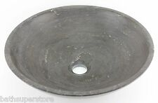 Stone GREY Charcoal MARBLE Round Bowl Counter Basin Vanity Bowl MATTE 365mm x120