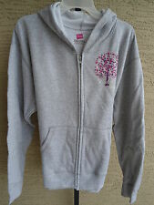 NEW WOMENS HANES CANCER AWARENESS ZIP UP HODDIE WITH GLITZY GRAPHIC  GRAY XL