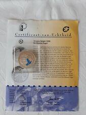 Belgie 10 euro 2008, blauwe vogel, QP zilver .925