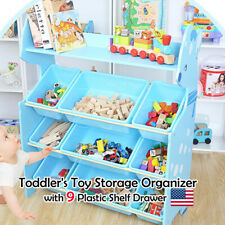 Toy Storage Box Organizer Kids Children Playroom Plastic 9 Bins Extra Large