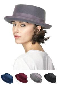 C.C Women's Classic Soft Wool Felt Brim Dress Fedora Hat with Ribbon Band