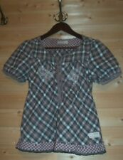 ODD MOLLY SHORT SLEEVE CHECKED EMBROIDERED COTTON BLOUSE SZ 1 ELASTICATED WAIST