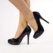 Womens Ladies Stiletto High Heel Court Shoes Size1 2 3 4 5 6 Black UK 1 EU 34