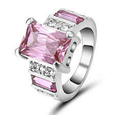 Trendy Pink Sapphire Women Luxury 10K white gold filled Emerald Cut Ring Size 7