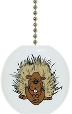 Porcupine Animal Wildlife Solid CERAMIC Ceiling Fan Light Lamp Pull