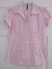 Ladies Shirt size 10 White Red Striped BNWT