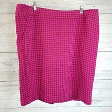 Merona Womens Pencil Skirt Sz 18 Red Pink Houndstooth
