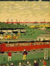Dibujo Paisaje Urbano Tokio Japón Tren Carruaje Utagawa impresión de arte poster CC595