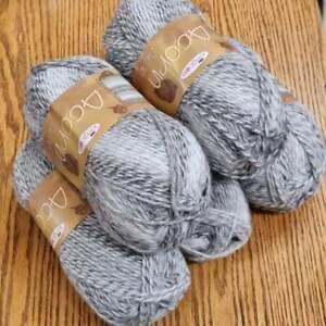 5x 100g King Cole Acorn Aran Knitting Yarn, Variegated 20% Real Wool grey