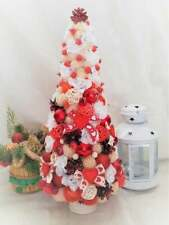 Rustic Christmas tree, Red and white table Christmas tree, Small Christmas tree