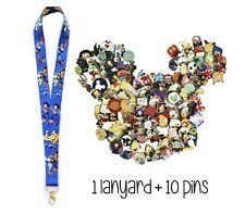 Disney Pins (10) + Toy Story Lanyard + Pin Trading Guide - New!