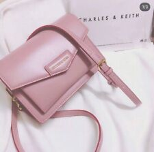 New Charles and Keith Pink Front Flap Crossbody Messenger Bag W/Adjustable Strap