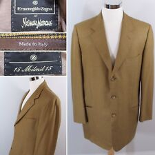 "ERMENEGILDO ZEGNA Mens 44L Brown Plaid ""15 Milmil15"" Blazer Sport Coat EXCELLENT"