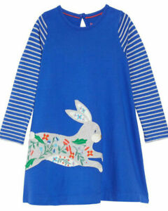 EX MINI BODEN BUNNY APPLIQUE JERSEY SWING DRESS AGE 5 - 6 YEARS NEW (ref 397)
