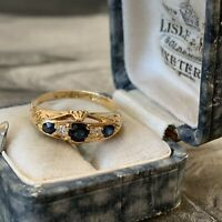 Antique Victorian 18ct Gold Sapphire & Diamond Ring, Birmingham Dates 1863