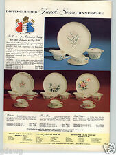 1957 PAPER AD French Saxon Dinnerware Plates Wisteria Pond Lily Rose Garden