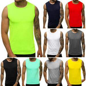 Tanktop T-Shirt Muskelshirt Achselshirt Sport Basic Unifarben Herren OZONEE 9001