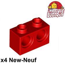 Lego Technic - 4x Brique Brick 1x2 holes rouge/red 32000 NEUF