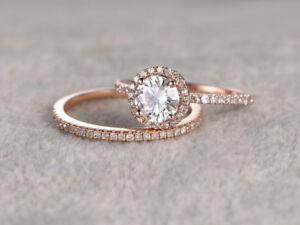 1 ct Moissanite Rose gold Ring Eternity band Ring set -14k wedding engagement