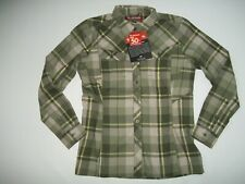 SIMMS Fishing UPF 50 Long Sleeve WOOL Blend Thyme Plaid SHIRT Womens MEDIUM NEW