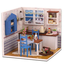 Kits Wood Dollhouse Miniature DIY House Room with Furniture+Cover Warm Home M005