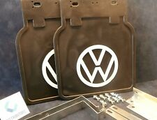 VW BUS MUD FLAPS BLACK WITH  BRACKETS (PAIR) 1952-1979 FITS ALL BUS 211821805BLK