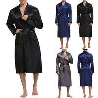 INCERUN Hommes Pyjama en soie satinée Kimono Peignoir Robe de nuit Vêtements