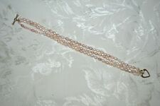 Vintage Estate Freshwater Pearl Bracelet 14K Gold Heart Closure Clasp