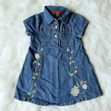 Guess Baby Blue Denim Embroidered Short Sleeved Dress Size 18-24 Months