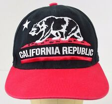 California Republic Bear Star LOGA Red Bill Black Baseball Cap Hat Adjustable