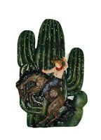 VTG Western Wall Hanging Bucking Horse Cowgirl Cactus Multicolored hand-painted?