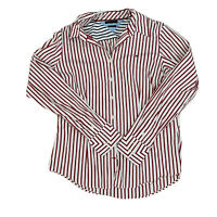 Tommy Hilfiger Women's Size 10 Stretch Button Stripe Shirt Long Sleeve