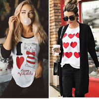 Women Valentine's Day Cat Love Long Sleeve Sweatshirt Pullover Tops Blouse Shirt