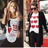 Women Valentine's Day Cat Love Long Sleeve Sweatshirt Pullover Tops Blouse Shirt