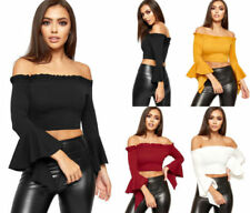 Off-Shoulder Sleeve Tops & Blouses for Women with Ruffle