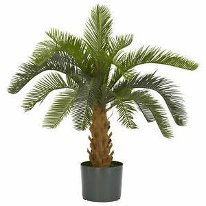 Artificial Cycas Silk Plant Tree 28in Brautifull Synthetic Plastic Foam Trunk